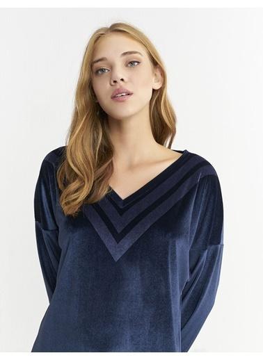 BGN Mavi - V Yakalı Kadife Elbise Mavi